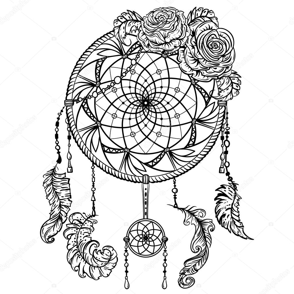 Dream catcher with ornament and roses. Tattoo art. Retro banner ...