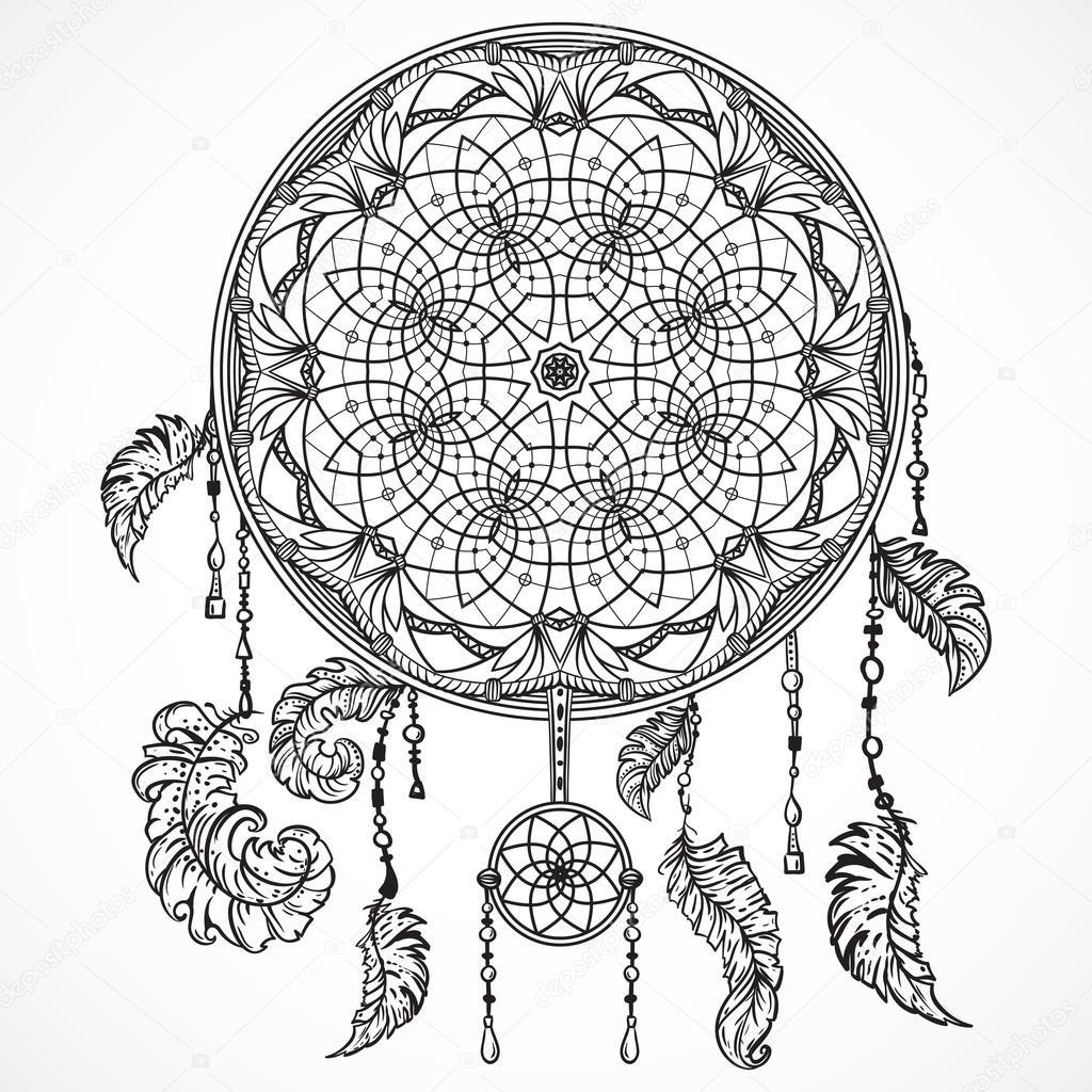 Atrapasueños Tattoo Blanco Y Negro Atrapasueños Con Ornamento