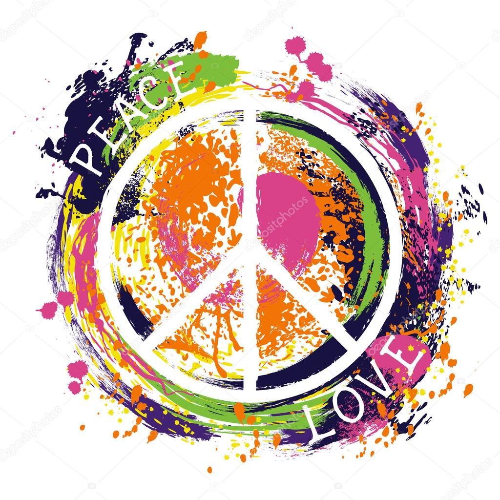 Hippie symbol f r frieden frieden und liebe bunte handgezeichnete grunge stil kunst entwerfen - Dessin peace and love ...