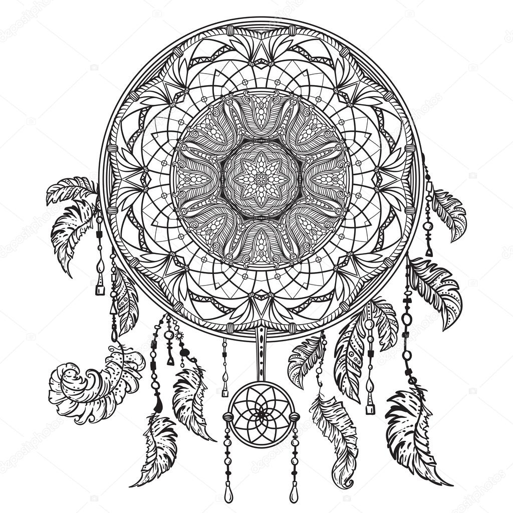 Atrapasueños Dibujo Para Tattoo Atrapasueños Con Ornamento Arte