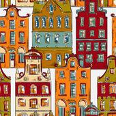 Fotografia Amsterdam. Modello senza cuciture con larchitettura tradizionale di vecchi edifici storici dei Paesi Bassi. Variopinta disegnato a mano dellannata