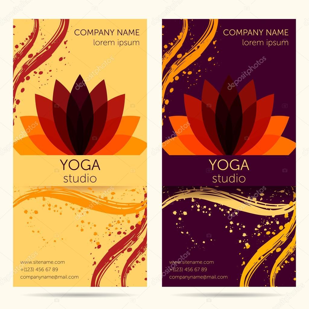 Plantilla de diseño para el estudio de yoga con flor de loto ...