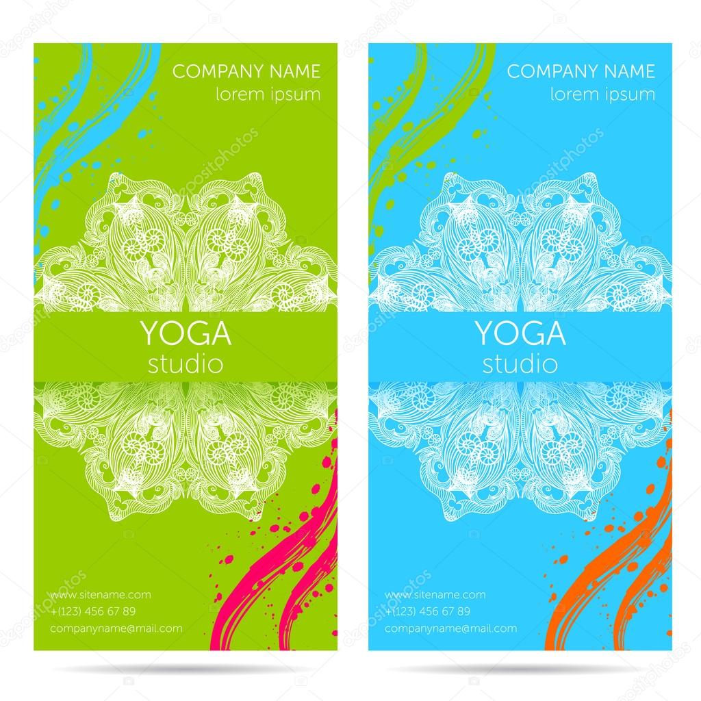 Design Template For Yoga Studio With Mandala Ornament Background