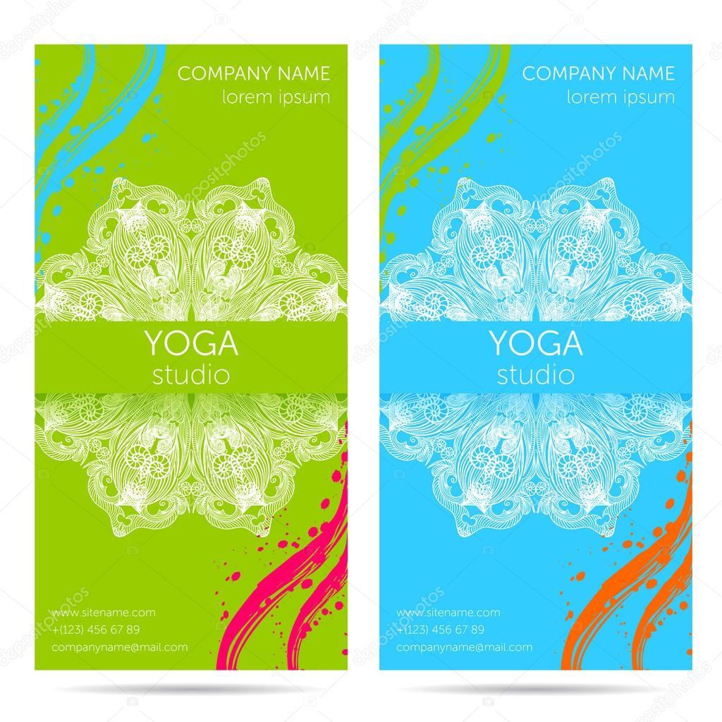 Plantilla de diseño para el estudio de yoga con fondo de ornamento ...