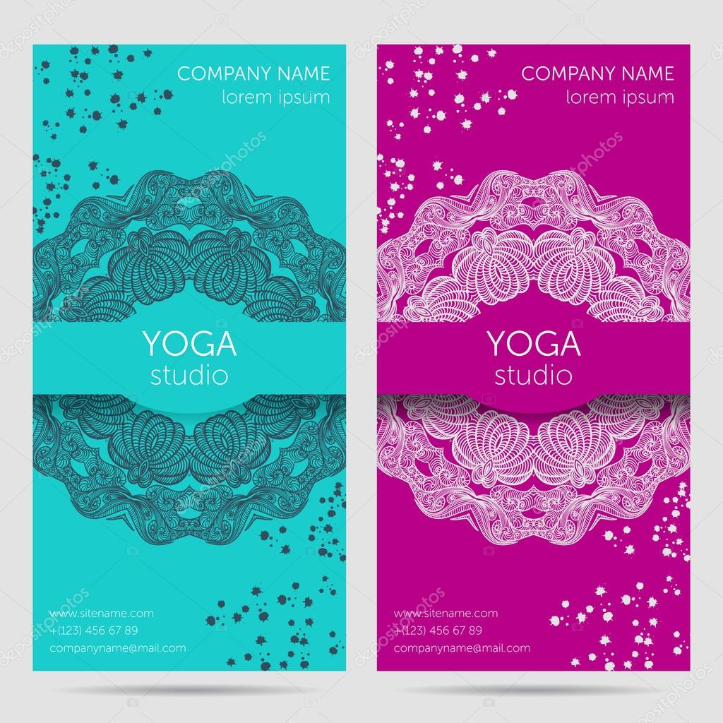 Design template for yoga studio with mandala ornament background design template for yoga studio with mandala ornament background design concept for brochure card invitation flyer banner colorful vector illustration stopboris Image collections