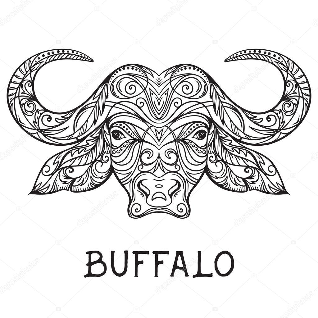 T te de buffle avec ornement abstrait art de tatouage - Photo de bison a imprimer ...