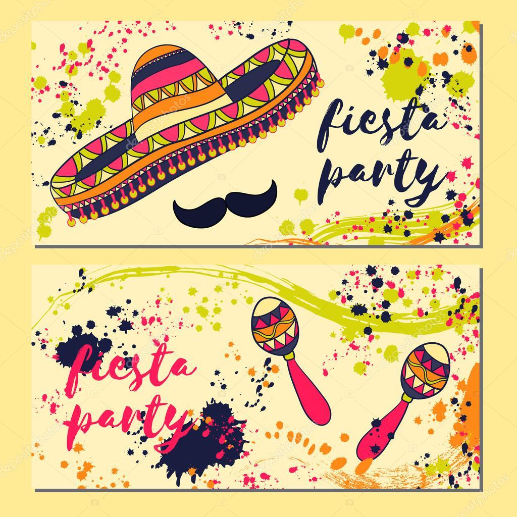Vectores Fiesta Mexicana Invitaciones Hermosas Tarjetas