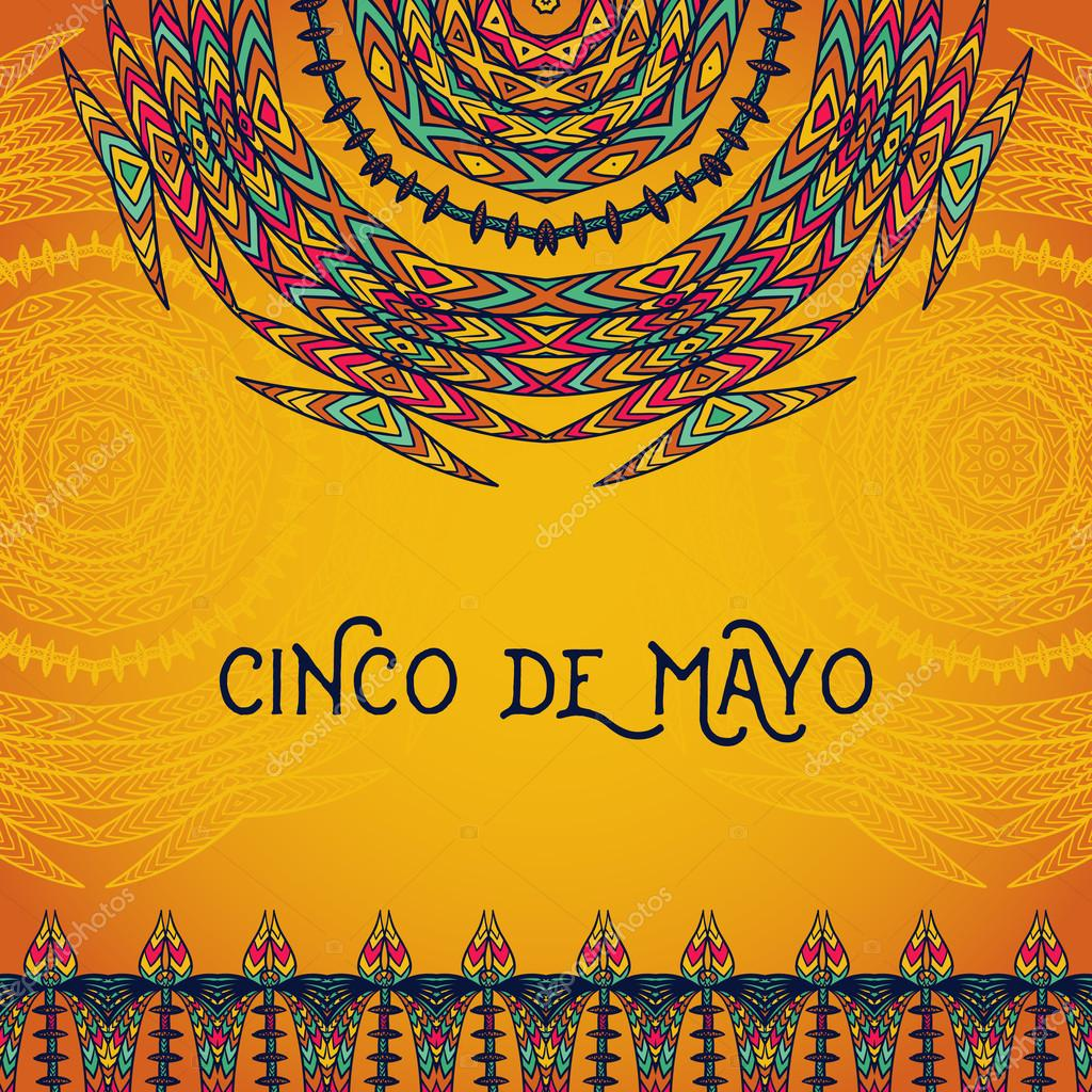 beautiful greeting card invitation for cinco de mayo festival design concept for mexican fiesta holiday with ornate mandala and border frame ornament