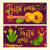 Schöne Grußkarte, Einladung zum Fest. Designkonzept für mexikanischen Cinco de Mayo Urlaub mit Gitarre, Kakteen und bunten Spritzern im Aquarell-Stil.