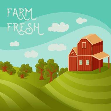 Farm fresh. Rural landscape with farmhouse, fields and trees. Cartoon vector illustration