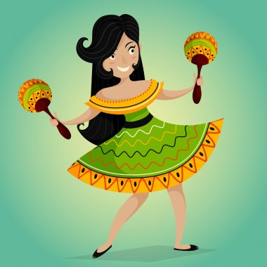 Mexican Fiesta Party Invitation with beautiful Mexican woman dancing with maracas.Vector illustration poster. Design concept for Cinco de Mayo festival flyer, poster or greeting card
