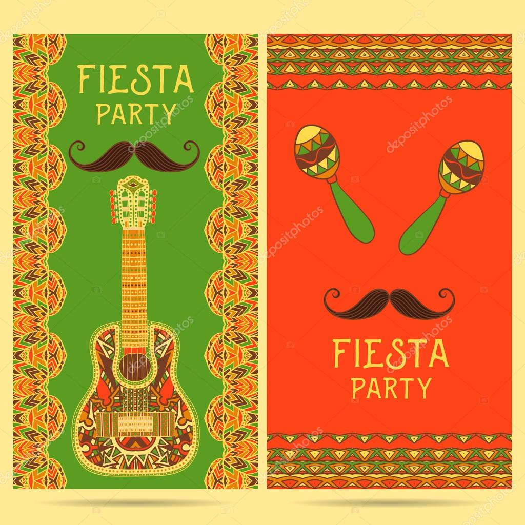 beautiful greeting card invitation for fiesta festival design concept for mexican cinco de mayo holiday with maracas guitar and ornate border