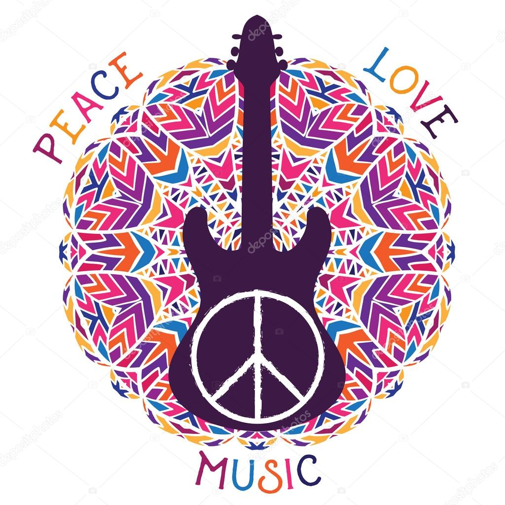I Love Music Hippie Peace Symbol Peace Love Music Sign