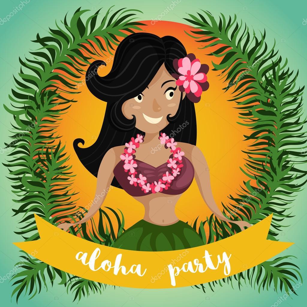 Hawaiian aloha party invitation with hawaiian hula dancing girl hawaiian aloha party invitation with hawaiian hula dancing girl palm leaves and ribbon cartoon vector illustration design concept for flyer stopboris Choice Image
