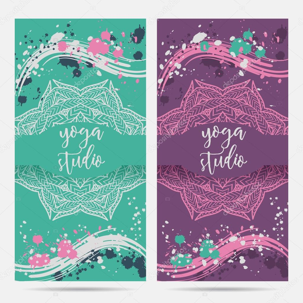 Design template for yoga studio with mandala ornament and splashes ...