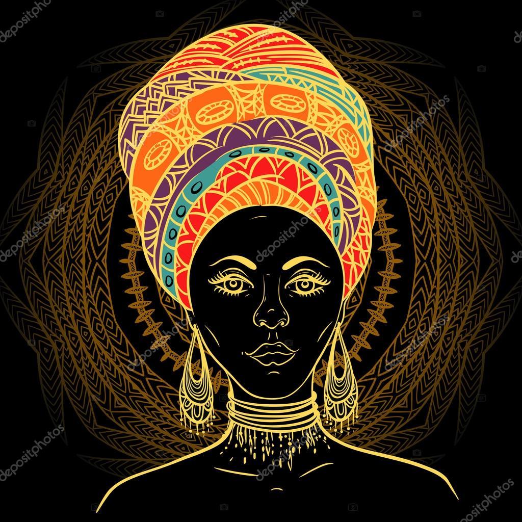 Beautiful African Woman In Turban Over Ornate Mandala Round