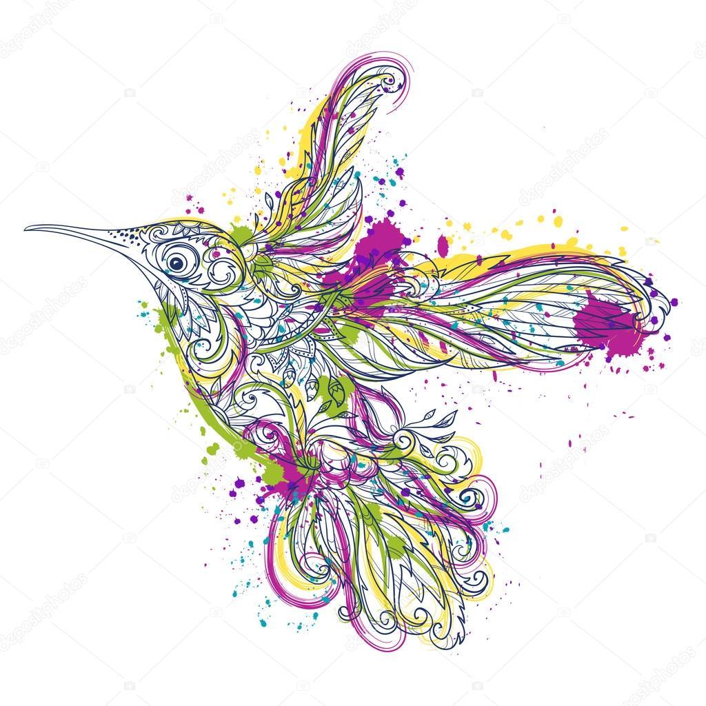 Koliber Z Kwiatowy Ornament I Abstrakcyjne Plamy W Stylu