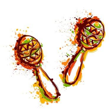 Mexican Maracas. Fiesta party. Hand drawn grunge style art. Vector illustration