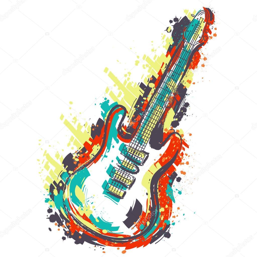 Electric Guitar Hand Drawn Grunge Style Art Retro Banner Card T Shirt Bag Print Poster Vintage Colorful Hand Drawn Vector Illustration Stock Vector C Kateja 111934196