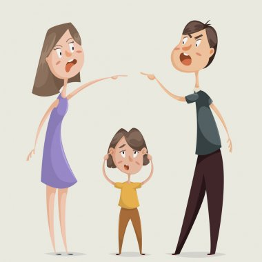 Divorce. Family conflict. Couple man and woman swear and child close his ears. Cartoon characters. Vector illustration