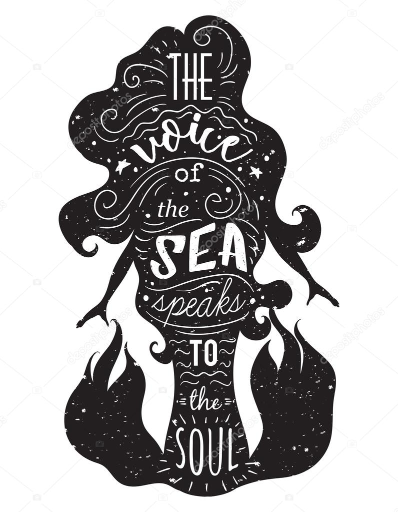 T shirt design inspiration typography - Silhouette Of Mermaid With Inspirational Quote The Voice Of The Sea Speaks To The Soul Typography Poster