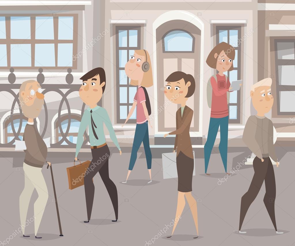 Personas Caminando En La Calle. Personajes De Dibujos
