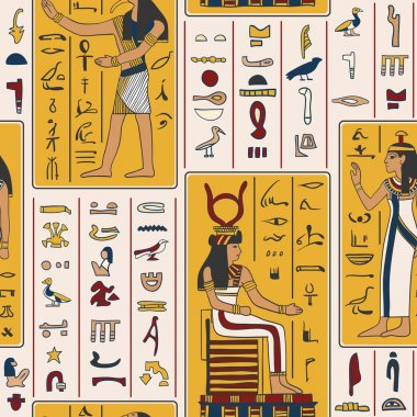 Seamless pattern with egyptian gods and ancient egyptian hieroglyphs. Retro hand drawn vector illustration