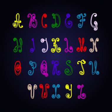 Cute cartoon hand drawn alphabet consisting of the points. Colored bright vector letters of pearl necklace
