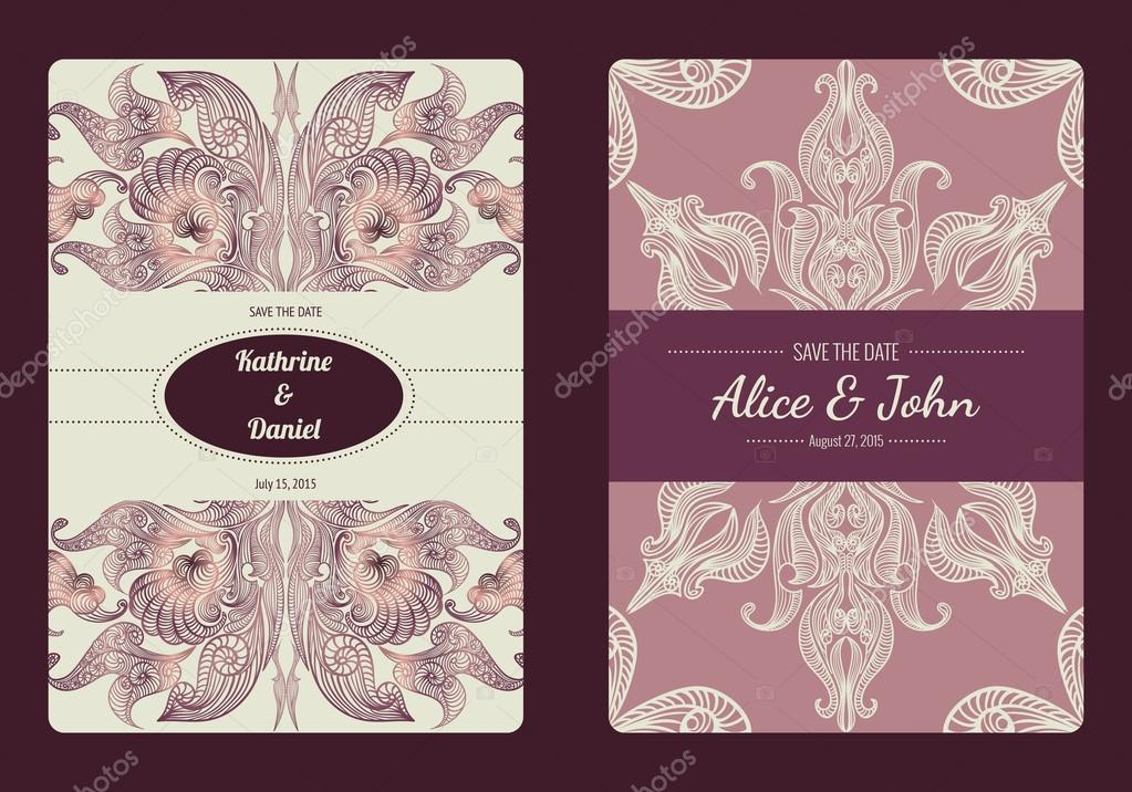 damask save the date vector template.html