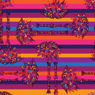 colorful seamless geometric pattern African palm branches