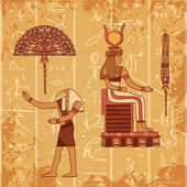 Vintage poster set with egyptian god, pharaoh, feather and fan on the grunge background with silhouettes of the ancient egyptian hieroglyphs. Retro hand drawn vector illustration