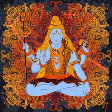 Vintage poster with sitting Indian god Shiva on the grunge background over ornate mandala round pattern. Retro hand drawn vector illustration