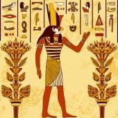 Vintage plakát s egyptským Bohem na pozadí grunge s starověké egyptské hieroglyfy a květinové prvky. Retro ručně tažené vektorové ilustrace