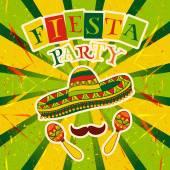 mexikanische Fiesta-Party mit Maracas, Sombrero und Schnurrbart. handgezeichnetes Vektor Illustration Poster mit Grunge Hintergrund
