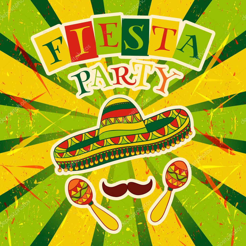 Mexican Fiesta Party Invitation with maracas, sombrero and mustache. Hand drawn vector illustration poster with grunge background
