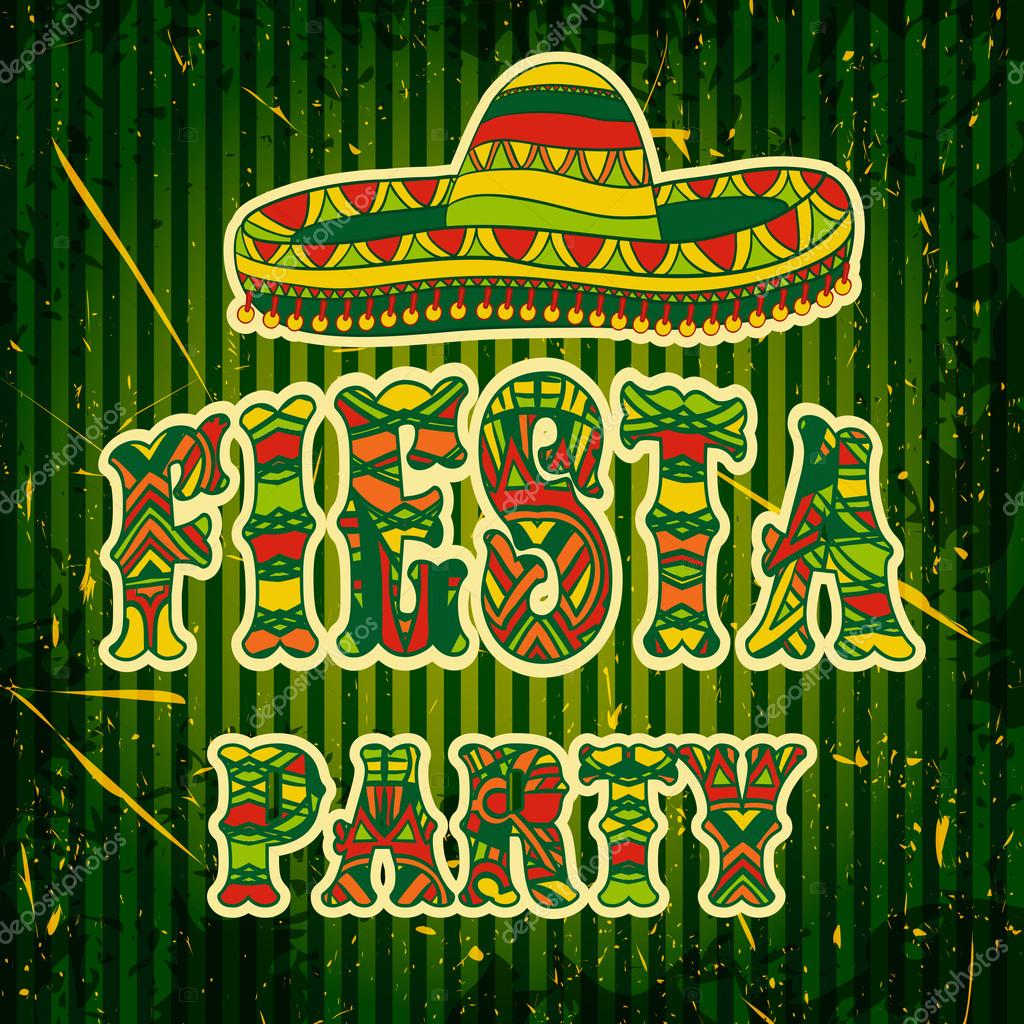 Mexican fiesta party invitation with sombrero and colorful ethnic mexican fiesta party invitation with sombrero and colorful ethnic tribal ornate title hand drawn vector stopboris Images