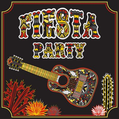 Mexican Fiesta Party Invitation with Mexican guitar, cactuses and colorful ethnic tribal ornate title. Hand drawn vector illustration poster with grunge background. Flyer or greeting card template