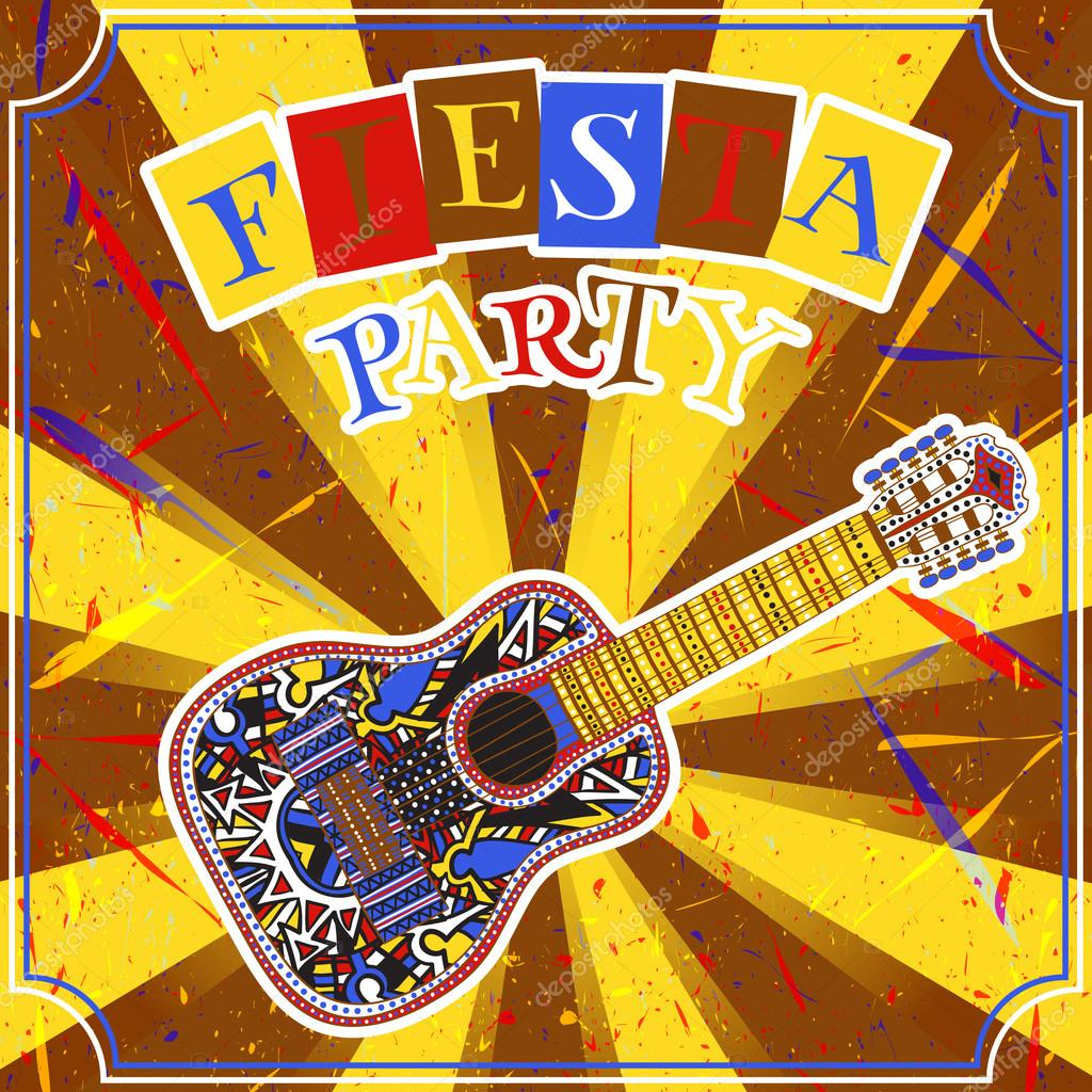 Mexican Fiesta Party Invitation with mexican guitar and colorful ...