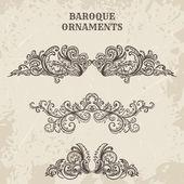 Fotografia antico e barocco cartouche ornamenti di vettore. Elementi su sfondo grunge nello stile di abbozzo di disegno di dettagli architettonici depoca