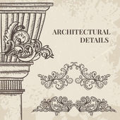 Fotografia insieme di vettore di colonna stile classico e antico e barocco cartouche ornamenti. Elementi su sfondo grunge nello stile di abbozzo di disegno di dettagli architettonici depoca