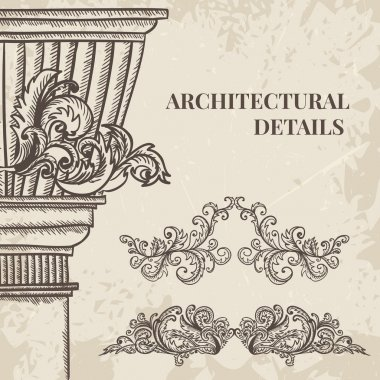 antique and baroque cartouche ornaments and classic style column vector set. Vintage architectural details design elements on grunge background in sketch style