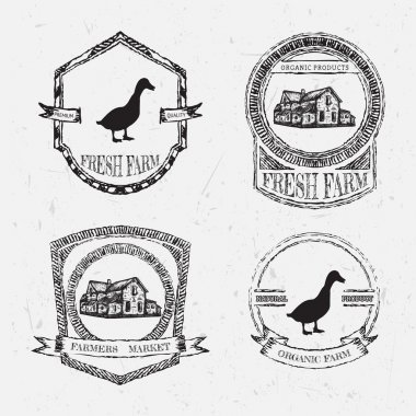 organic farm vintage chalk labels with farmhouse and duck on the grunge background. Retro hand drawn vector illustration poster in sketch style