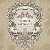 Fotografia antique and baroque cartouche ornaments frame. Vintage architectural details design elements on grunge background in sketch style