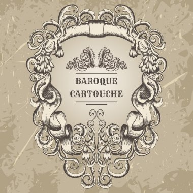antique and baroque cartouche ornaments frame. Vintage architectural details design elements on grunge background in sketch style