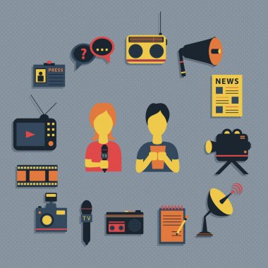 Vector illustration of Mass media journalism broadcasting news cast concept flat business icons set of paparazzi profession live radio for infographics design web elements
