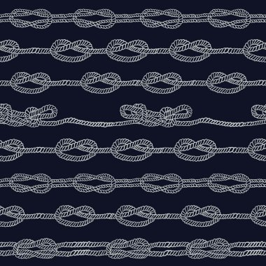 Navy rope and marine knots striped seamless pattern. Vintage vector illustration collection