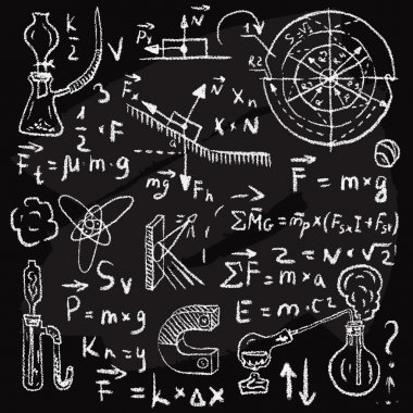 Physical formulas and phenomenons on chalkboard. Vintage hand drawn illustration