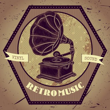 Poster with vintage gramophone. Retro hand drawn vector illustration lable retro music in sketch style with grunge background
