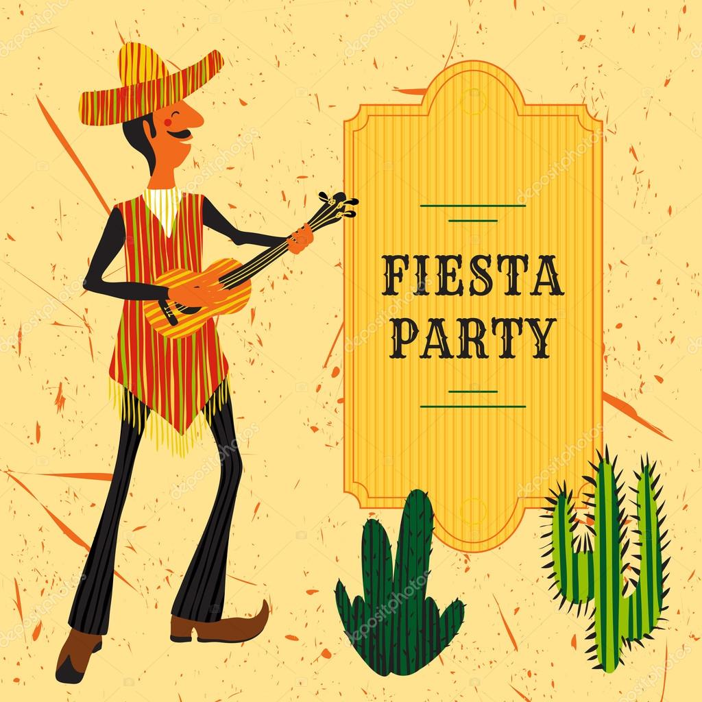 Mexican Fiesta Party Invitation with Mexican man playing the guitar ...