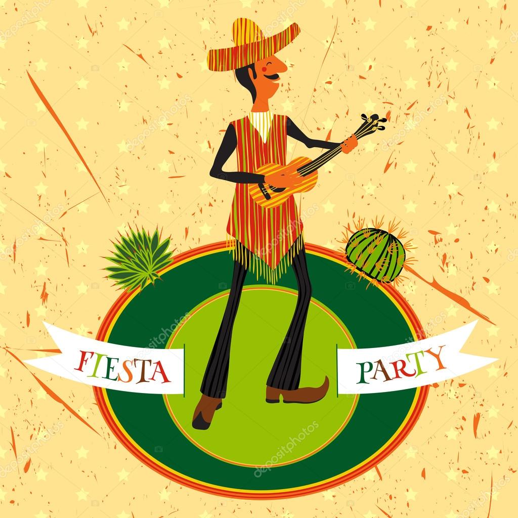 Mexican Fiesta Party Invitation With Man Playing The Guitar In A Sombrero And Cactuses